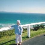 Rachel holding Penny at Cape Byron, Australia